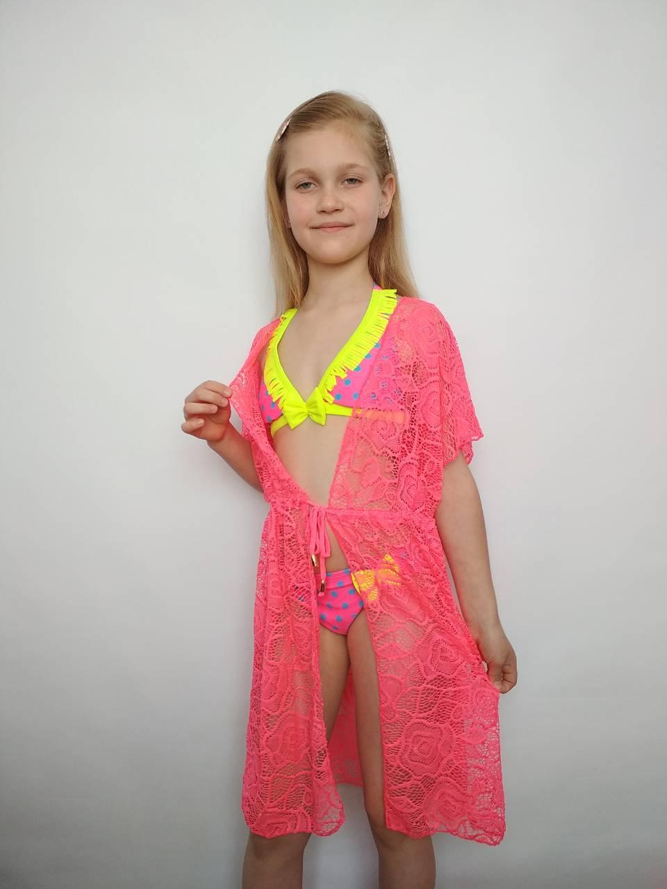 Детская пляжная ажурная туника для девочки р. 116-122-128-134-140