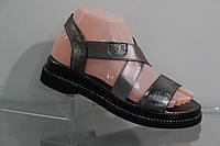 Молодежные кожаные босоножки с регулируемой полнотой, фото 1