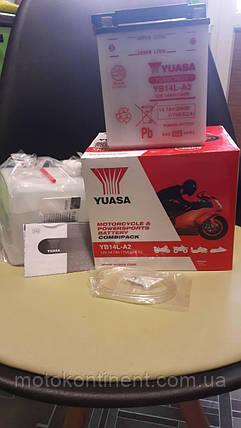 Аккумулятор для мотоцикла сухозаряженный YUASA YB14L-A2 14 AH 134X89X166, фото 2