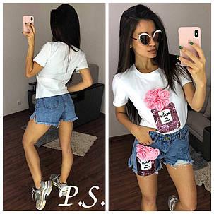 """Костюм футболка и джинсовые шорты """"Парфюм"""", размеры M L XL, фото 2"""