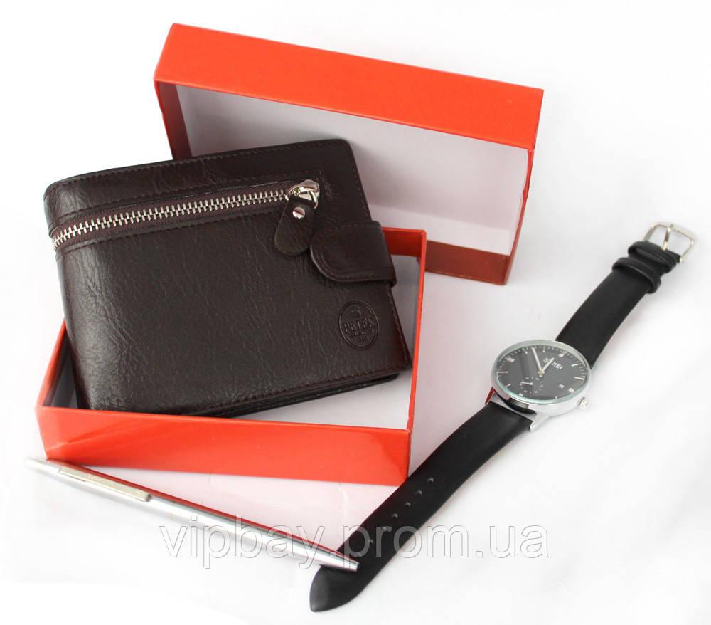 Отличный мужской кошелек - бумажник коричневого цвета (BL-003к)