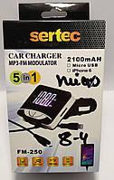 FM модулятор Sertec FM-250 + азу Micro USB