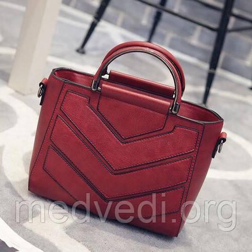 Бордовая женская сумочка, стильная модная сумка красная, молодежная с ручками на плечо