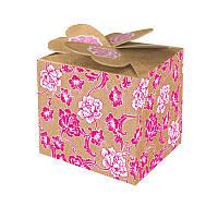 Бонбоньерка крафт с розовыми цветами (код В-91)
