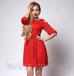 Ошатне молодіжне плаття , з перфорацією, відкриті плечі р. 46 червоне (708)