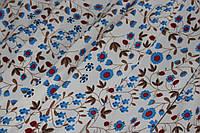 Ткань супер софт мелкий цветок №402 на креме, легкая прозрачность , фото 1