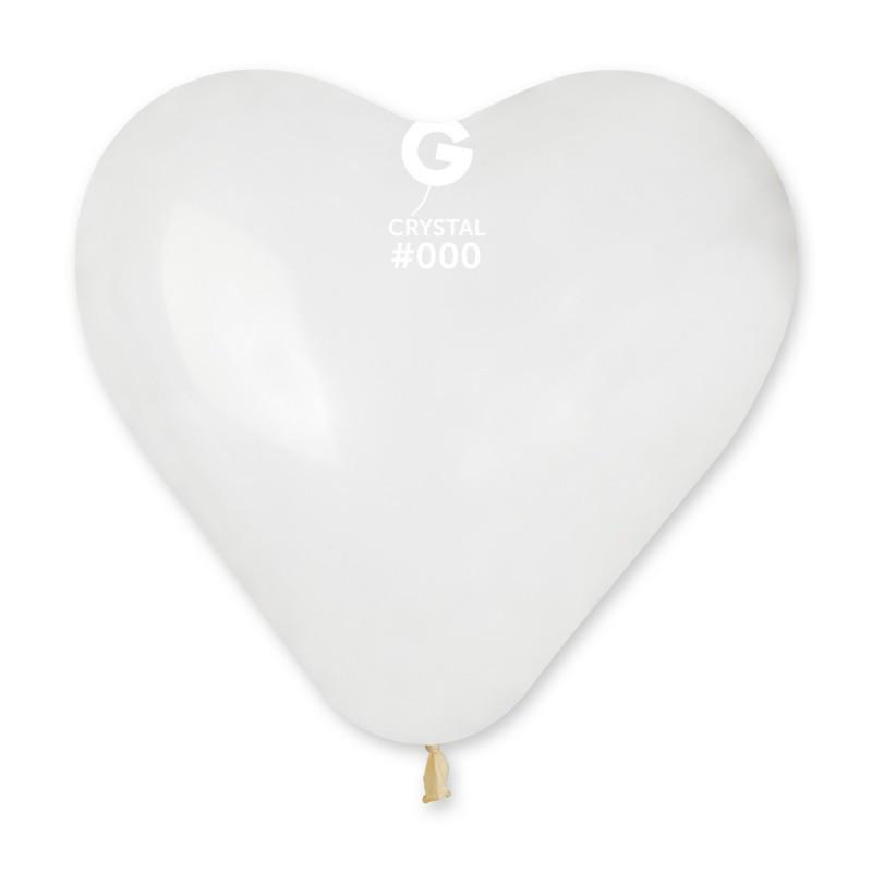 """Воздушные шары сердце 6""""(15 см) 00 Прозрачный пастель В упак: 100шт. ТМ """"Gemar"""" Италия"""