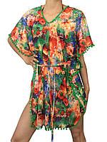 Пляжное платье туника с мини бубончиками цветная