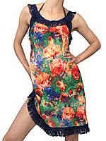 Пляжное платье короткое с бахромой (парео, пляжная туника, майка)
