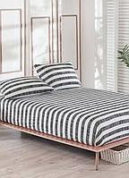 Простынь на резинке с наволочками Eponj Home B&W Hook siyah черная двухспальная евро размер