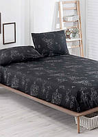 Простынь на резинке с наволочками Eponj Home B&W Oma siyah черная двухспальная евро размер