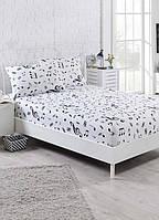 Простынь на резинке с наволочками Eponj Home B&W Melodiy beyaz белая двухспальная евро размер