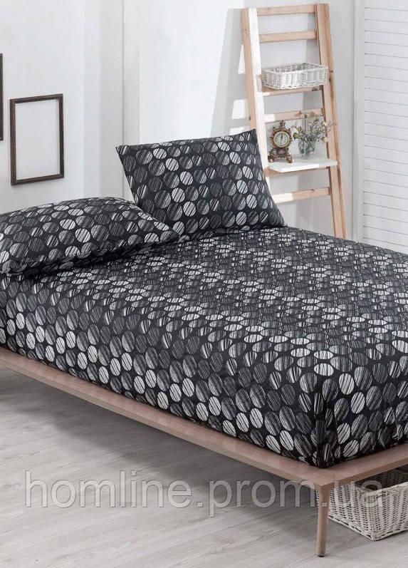 Простынь на резинке с наволочками Eponj Home B&W Tilsim siyah черная двухспальная евро размер