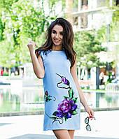 Платье женское льняное принт роза  авр089, фото 1