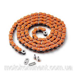 Мото цепь  520 EK CHAIN 520MVXZ2 CO - 120 Оранжевая  размер цепи 520  на 120 звеньев, фото 2