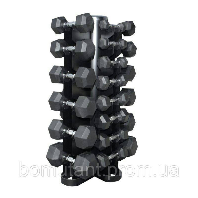 Гантели шестигранные ряд 1-20 кг  Rubber Hexagon Dumbbell