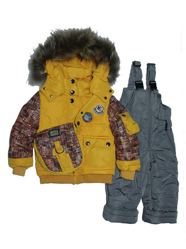 Детский зимний комбинезон для мальчика  3-х  лет  с сумочкой New Soon