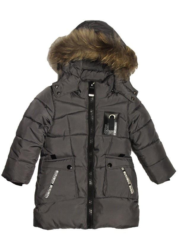 Детская зимняя удлиненная куртка пальто 92-98 рост серая