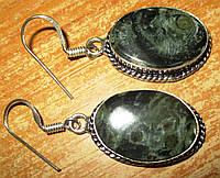 Шикарные серебряные серьги  с  крокодиловой яшмой камамба и  от студии LadyStyle.Biz, фото 1