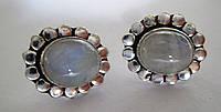 """Серебряные серьги-пусеты с  натуральным лунным камнем  """"Мыльные пузырьки"""",   от студии LadyStyle.Biz, фото 1"""