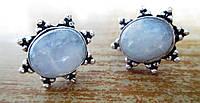 """Серебряные серьги-пусеты с  натуральным лунным камнем  """"Звездочка"""",   от студии LadyStyle.Biz, фото 1"""