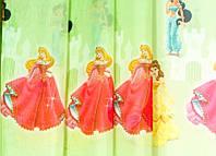 """Тюль шифоновая """"Принцессы"""" (зеленый), фото 1"""