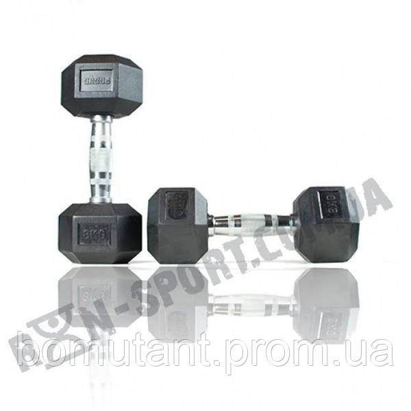 Гантели шестигранные Rubber Hexagon Dumbbell