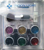 Набор для временных татуировок MoonLight (6 цветов, 20 картинок, клей, кисти)