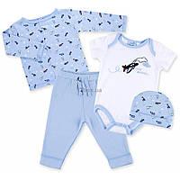 Набор детской одежды Luvena Fortuna для мальчиков :человечек, штанишки, кофточка и шапочка (F7763.B.9-12)