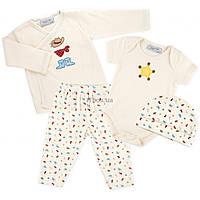 Набор детской одежды Luvena Fortuna человечек, штанишки, кофточка и шапочка (F7762.C.6-9)