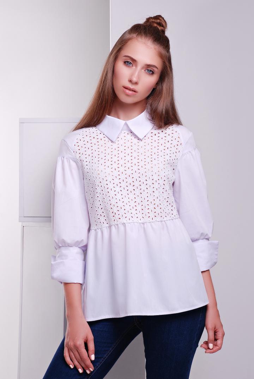 cee11b2e618 Рубашка с прошвой в стиле кежуал