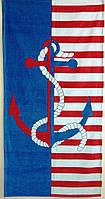 Пляжное полотенце Hanibaba. Якорь сине-красный, 75х150 см