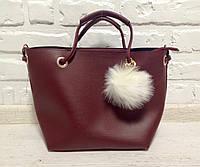 Молодежная женская сумка Пушок бордового цвета 2в1