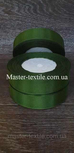Репсовая лента ширина 2,5 см., 25 ярдов (тёмно-зелёный)