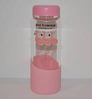 """Бутылка для напитков и воды """"Nice Flamingo"""" (стекло, 450 мл.), фото 1"""