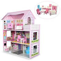 Деревянный кукольный домик с мебелью MD 1204