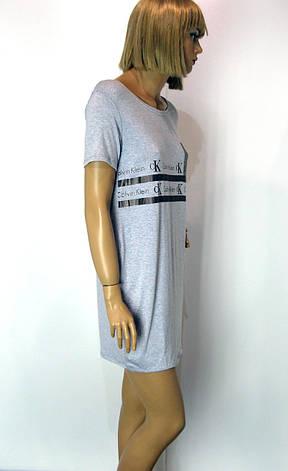 Футболка жіноча  з принтом  Calvin Klein сірого кольору , фото 2