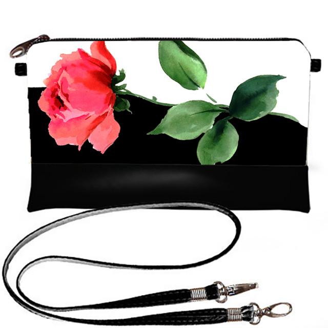 Женский черный клатч Инь-янь с розой