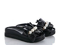 Модные шлепанцы женские черные с бусинами, фото 1
