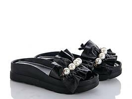 Модные шлепанцы женские черные с бусинами