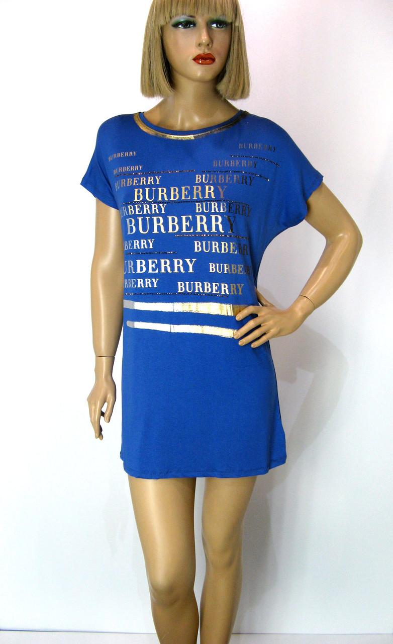 Футболка жіноча з принтом Burberry  синього кольору