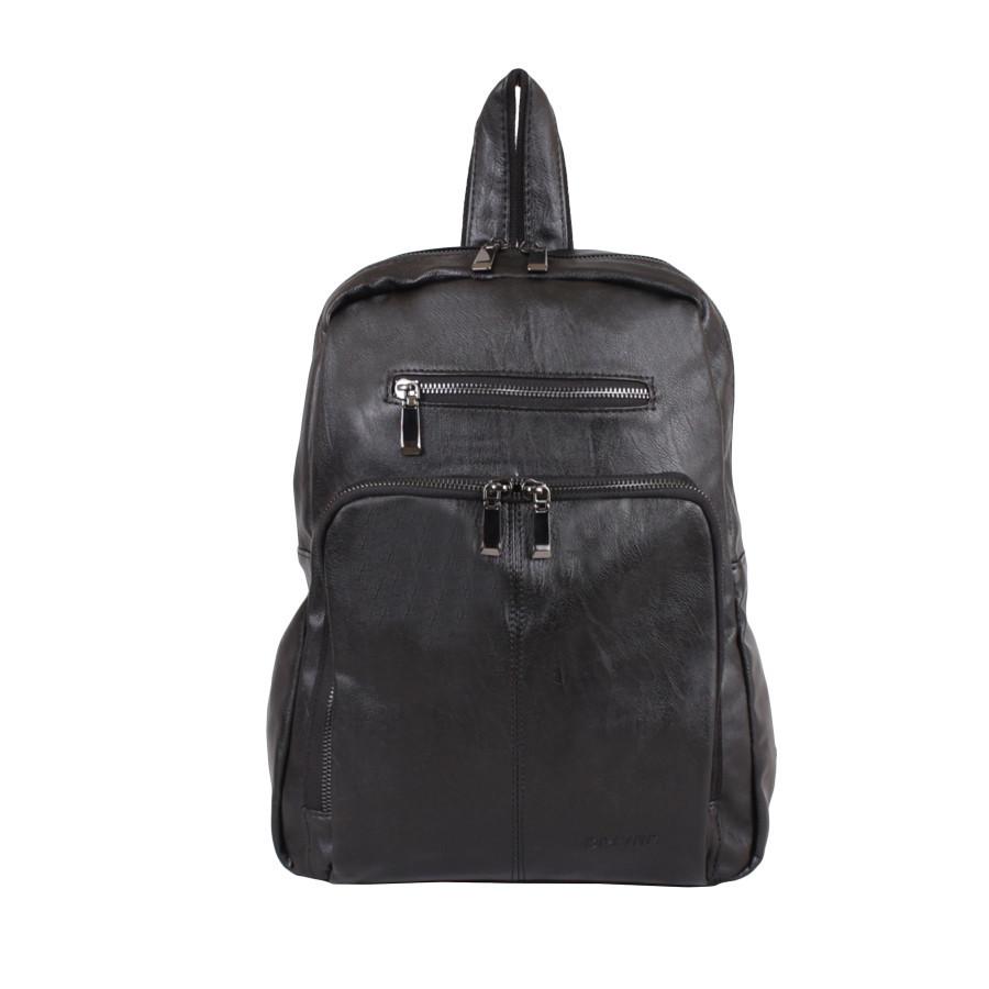 Рюкзак зі штучної шкіри чорний