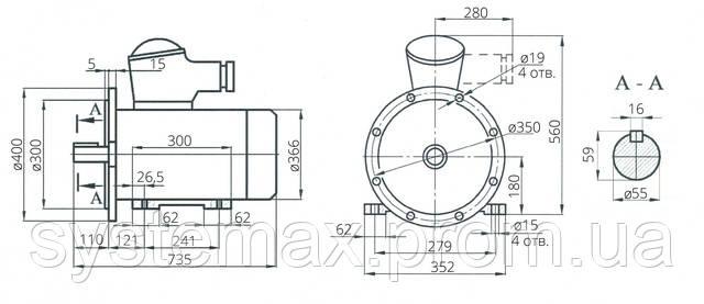 Взрывозащищенный электродвигатель АИУ 180М4 (ВАИУ 180М4)