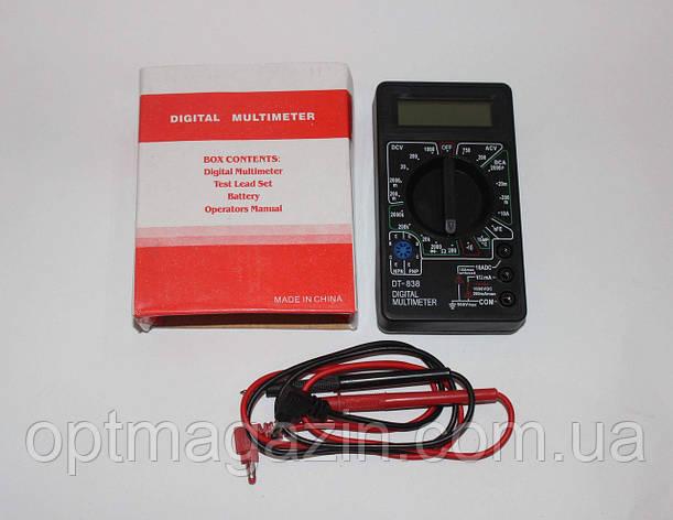 Мультиметр DT 838, Тестер вольтметр амперметр, Токоизмерительный прибор, Тестер цифровой с ЖК дисплеем, фото 2