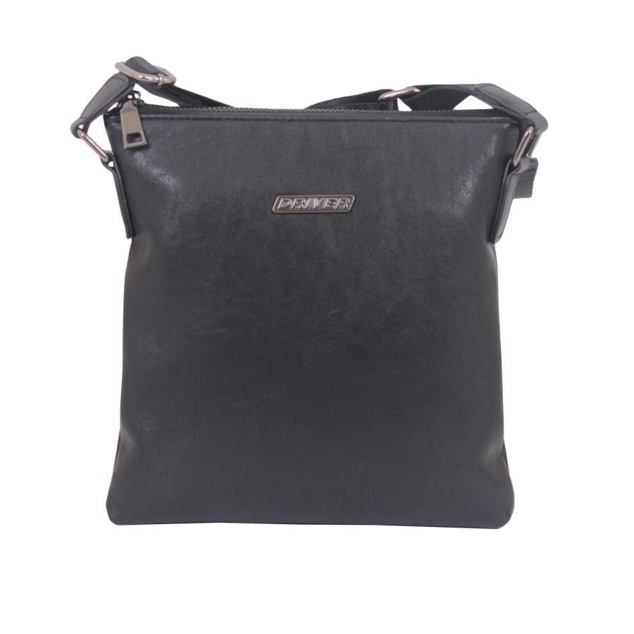 Барсетка черная с текстильным ремнем
