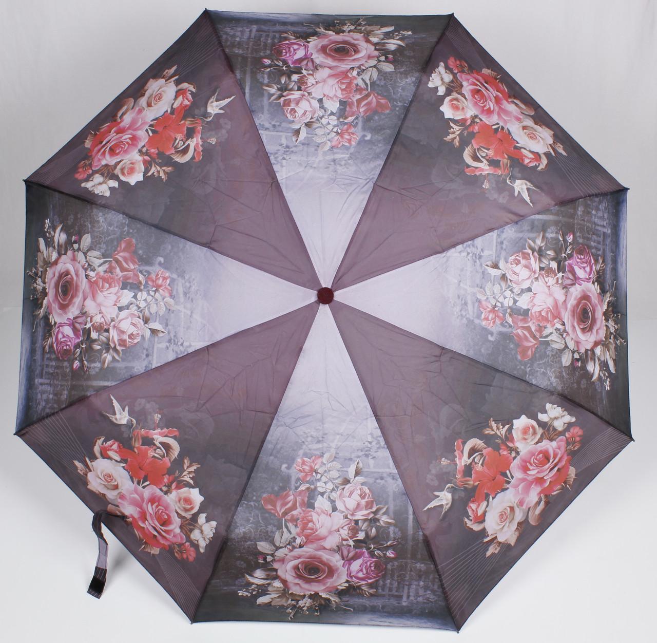 Зонт женский автомат цветы Susino
