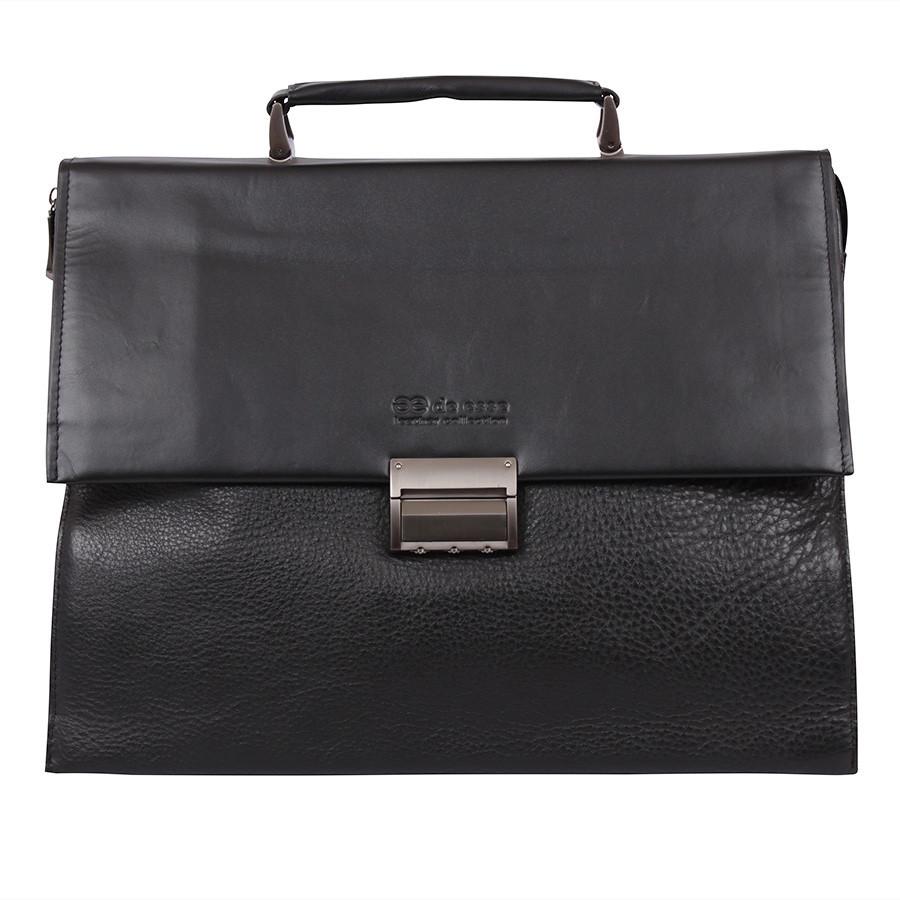 Классический портфель из натуральной кожи черный