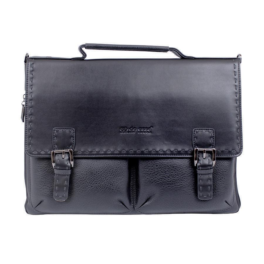 Портфель черный с расширяющимся дном