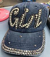 Джинсовая кепка с камнями Girl