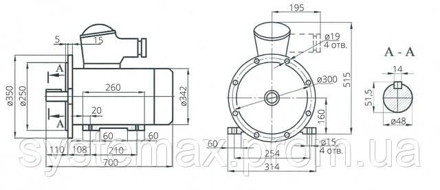 Взрывозащищенный электродвигатель АИУ 160М4 (ВАИУ 160М4)